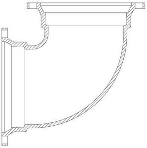 12 X 10 Ductile Iron 125# Flange P-401 90 BEND F9P41210