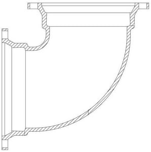 P-401 6 in. Flanged Ductile Iron 90 Degree Bend DF9P4U