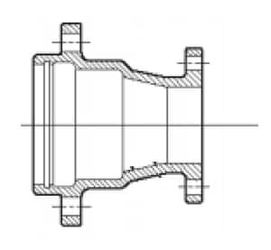 10 x 8 in. Union Tight x Flanged Domestic Ductile Iron C153 Short Body Reducer DUTFR10X