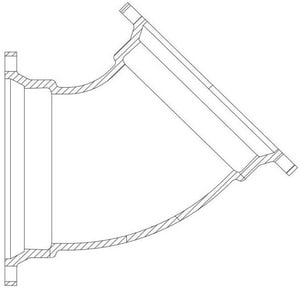 Tyler Union 16 in. Flanged 125# Domestic Ductile Iron C110 Full Body 45 Degree Bend DF416