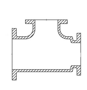 30 x 30 x 8 in. Mechanical Joint Ductile Iron C110 Full Body  Reducing Tee (Less Accessories) FBTLA30X