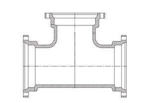 P-401 16 X 12 Ductile Iron 125# Flange P-401 Tee FTP41612