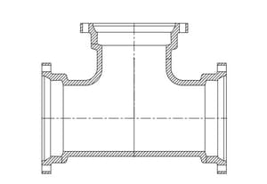 24 x 24 x 12 in. Mechanical Joint Ductile Iron C110 Full Body  Reducing Tee (Less Accessories) FBTLA2412