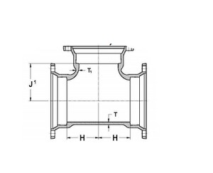 P-401 Mechanical Joint Ductile Iron C153 Short Body Tee (Less Accessories) MJTP4