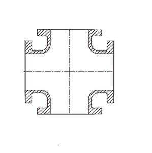12 x 12 x 6 x 6 in. Flanged 125# Ductile Iron C110 Full Body Cross FCROSS12U