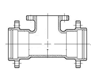 Union Tight x Flanged Ductile Iron C153 Short Body Reducing Tee DUTFT12U