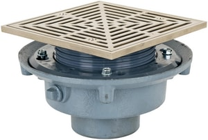 Sioux Chief 863 Series 3 in. No Hub Cast Iron Floor Drain with7 in. Square Nickel Bronze Grate S86323NQ