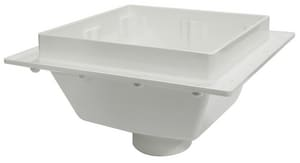 Sioux Chief SquareMax™ 3 in. PVC Square Floor Sink with Hub Connection and Open-Half Stainless Strainer S8613PW2