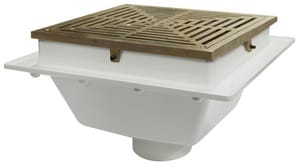 Sioux Chief SquareMax™ 2 in. Hub Schedule 40 Floor Sink with Ductile Iron Ring and Strainer in White S8612PI