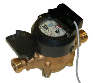 Zenner Model PPD 1-1/2 in. Flanged 100 gpm Brass Alloy and Polymer Cold Water, Displacement Magnetic Drive Meter with VL-9 Encoded Remote Totalizer - US Gallons ZPPDUSEPPBV9M