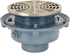 Sioux Chief 863 Series 3 in. No Hub Cast Iron Floor Drain with 7 in. Round Nickel Bronze Ring and Strainer S86323NR