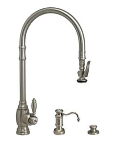 Waterstone Traditional Single Handle Pull Down Kitchen Faucet in Polished Nickel W55003PN