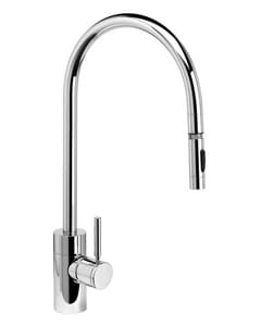 Waterstone Contemporary 1.75 gpm 1-Hole Extended Reach Pull-Down Kitchen Sink Faucet with Single Lever Handle in Matte Black W5300MB