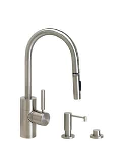Waterstone 1.75 gpm 1 Hole Deck Mount Kitchen Faucet with Single Toggle Handle and Swivel Spout in Satin Nickel W59003SN