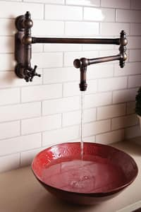 Waterstone Traditional 1.75 gpm Wall Mount Pot Filler with Single Cross Handle in Distressed Antique Copper W3150DAC