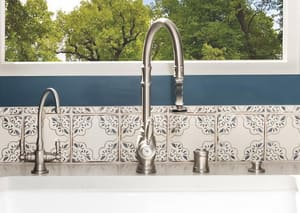 Waterstone Hampton Two Handle Lever Handle Water Filter Faucet in Satin Nickel W1200HCSN