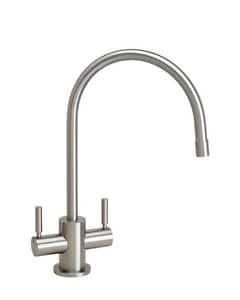 Waterstone Parche 1.75 gpm 1 Hole Deck Mount Bar Faucet with Double Lever Handle and C-spout in Satin Brass W1600SB