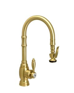 Waterstone Traditional Single Handle Pull Down Kitchen Faucet in Satin Nickel W5200SN