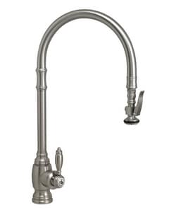 Waterstone Traditional Single Handle Pull Down Kitchen Faucet in Satin Nickel W5500SN