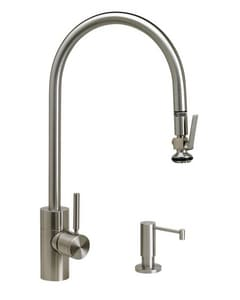 Waterstone Contemporary 1.75 gpm 2-Hole Extended Reach Positive Lock Pull-Down Kitchen Sink Faucet with Single Lever Handle in Polished Nickel W57002PN