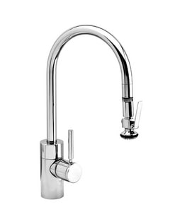 Waterstone Single Handle Pull Down Kitchen Faucet in Matte Black with Classic Bronze W5800MBCLZ
