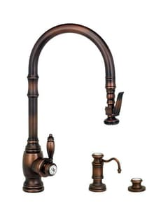 Waterstone Traditional Single Handle Pull Down Kitchen Faucet in Satin Nickel W56003SN
