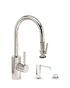 Waterstone 1.75 gpm 1 Hole Deck Mount Kitchen Faucet with Single Lever Handle and Swivel and Gooseneck Spout in Stainless Steel W59303SS