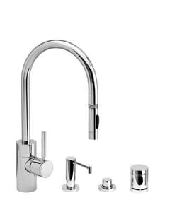 Waterstone Contemporary 1.75 gpm 4-Hole Pull-Down Kitchen Sink Faucet Suite with Single Lever Handle in Stainless Steel W54004SS