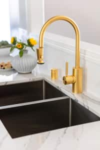Waterstone Traditional Single Handle Pull Down Kitchen Faucet in Unlacquered Polished Brass W5800UPB