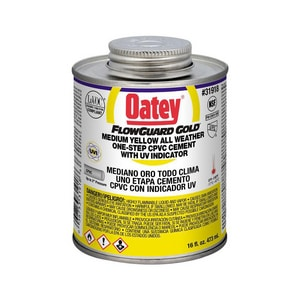 Oatey FlowGuard Gold® 16 oz Fast Set Plastic Yellow Pipe Cement O31918