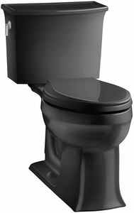 KOHLER Highline® 31-1/4 in. 1 gpf Elongated Toilet with Left Hand Trip Lever and Tank Cover Lock in Black Black K5298-T-7