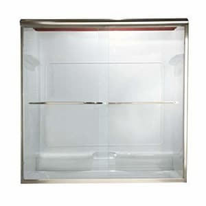 American Standard Euro® 65-1/2 x 24-1/4 x 44 in. Frameless Sliding Shower Door with Clear Glass in Silver AAM00335400213