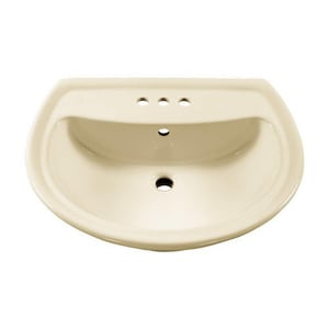 DXV Cadet™ 24-1/2 x 20 in. 3-Hole 1-Bowl Pedestal Mount Vitreous China Oval Lavatory Sink with Rear Drain in Linen A236004222