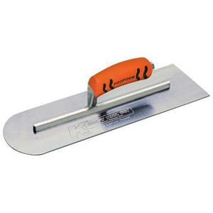 Kraft Tool Company 16 x 5 in. Steel Round Front and Square Back Cement Trowel with ProForm Soft Grip Handle KCFBPF