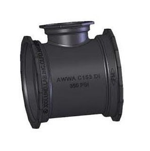 P-401 16 x 16 x 6 in. Mechanical Joint Ductile Iron C153 Short Body Reducing Tee (Less Accessories) MJTP4LA16U