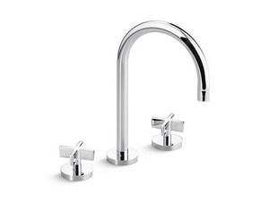 Kallista One™ 1.2 gpm 3 Hole Deck Mount Bathroom Sink Faucet with Double Lever Handle Widespread Spout in Polished Chrome KP24490CRAD
