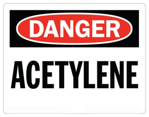 Accuform Signs 14 x 10 in. Adhesive Vinyl Sign - DANGER ACETYLENE AMCHL174VS at Pollardwater