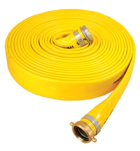 Abbott Rubber Co Inc Series 1166 4 in. x 50 ft. MNPSH x FNPSH Extra Heavy Duty PVC Water Discharge Hose in Yellow A1166400050NPSH