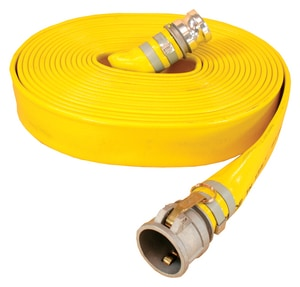 Abbott Rubber Co Inc Series 1166 4 in. x 50 ft. Male x Female Quick Connect Extra Heavy Duty PVC Water Discharge Hose in Yellow A1166400050CE