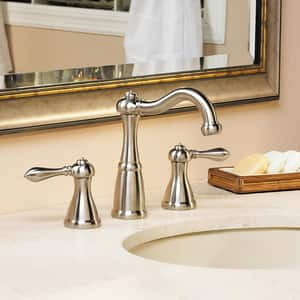 Pfister Marielle™ 1.2 gpm 3-Hole Widespread Lavatory Faucet with Double Lever Handle in Brushed Nickel PLF049M0BK