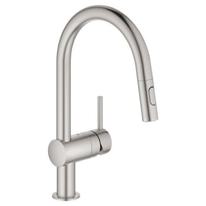 GROHE Minta Single Handle Pull Down Kitchen Faucet in SuperSteel Infinity™ G31378DC3
