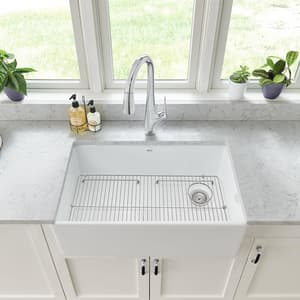 American Standard Avery® 29-3/4 x 20 in. No Hole Fireclay Single Bowl Undermount Kitchen Sink in Alabaster White A1180SB3020291