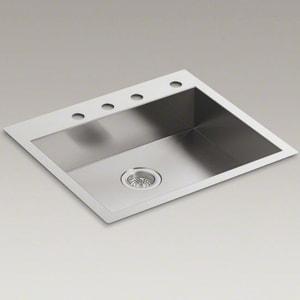 KOHLER Vault™ 25 x 22 in. 4-Hole Single Bowl Dual Mount Kitchen Sink in Stainless Steel K3894-4-NA