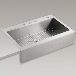 KOHLER Vault™ 35-3/4 x 24-5/16 in. 3 Hole Single Bowl Drop-in Kitchen Sink in Stainless Steel K3942-3-NA
