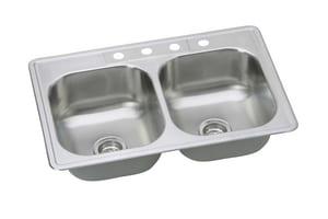 PROFLO® Bealeton 33 x 22 in. 4 Hole Stainless Steel Double Bowl Drop-in Kitchen Sink PFSR332264