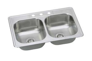 PROFLO® Bealeton 33 x 22 in. 3 Hole Stainless Steel Double Bowl Drop-in Kitchen Sink PFSR332263