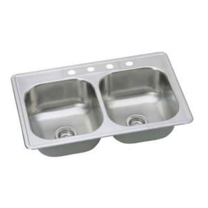 PROFLO® Bealeton 33 x 22 in. 4 Hole Stainless Steel Double Bowl Drop-in Kitchen Sink PFSR332284