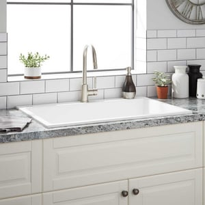 Signature Hardware Algren 33 X 22 In No Hole Composite Single Bowl Dual Mount Kitchen Sink In Cloud White Sh433426 Ferguson