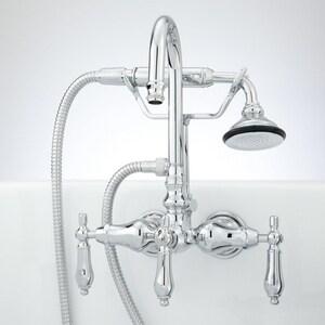 Signature Hardware Pasaia Three Handle Centerset Bathroom Sink Faucet in Polished Chrome SH329528