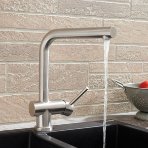 Signature Hardware Bennett Single Handle Lever Counter Mount Service Faucet in Stainless Steel SH433135